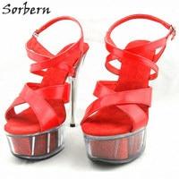 Sorbern Women Summer Sandals Shoes Plus Size 15CM Transparent Spike Heels Fashion Ladies Party Shoes New