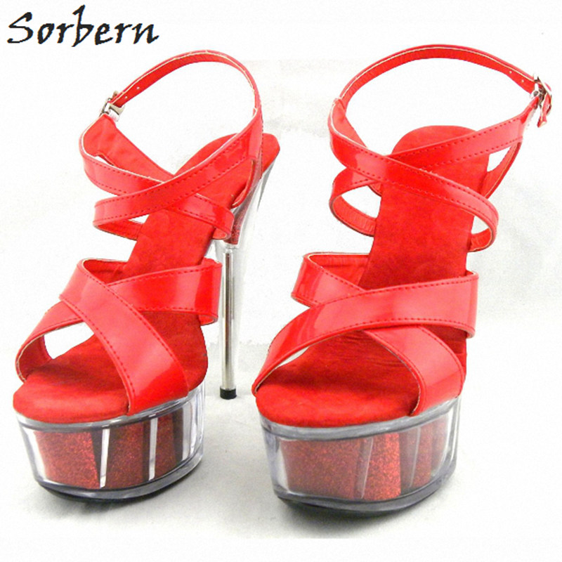Sorbern Women Summer Sandals Shoes Plus Size 15CM Transparent Spike Heels Fashion Ladies Party Shoes New Arrive Sandalia S sorbern women summer sandals shoes plus size 15cm transparent spike heels fashion ladies party shoes new arrive sandalia s
