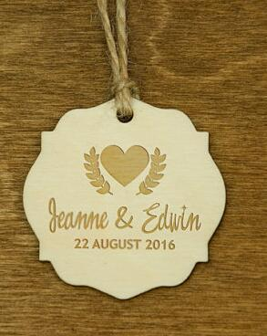 personalized heart vine wooden rustic wedding new year gift favor hang tags labels party bridal shower