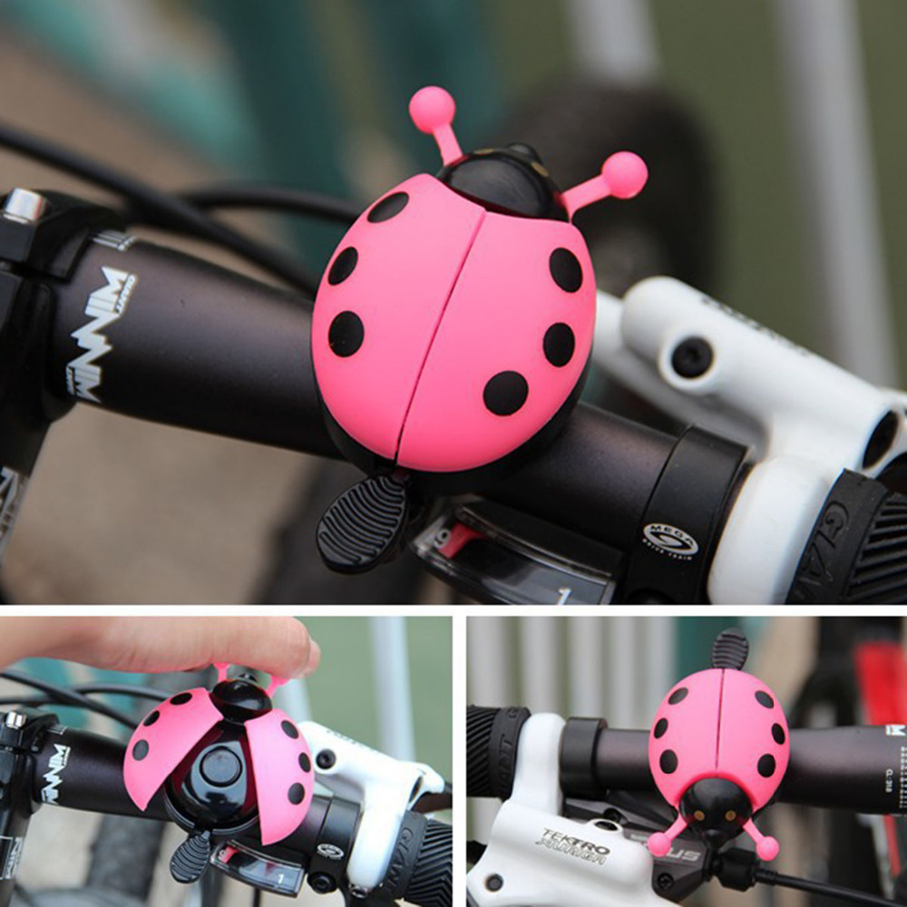 Wholesales Aluminum Alloy Bicycle Bell Ring Lovely Kid Beetle Mini Cartoon Ladybug Ring Bell for MTB Bike Bicycle Accessories