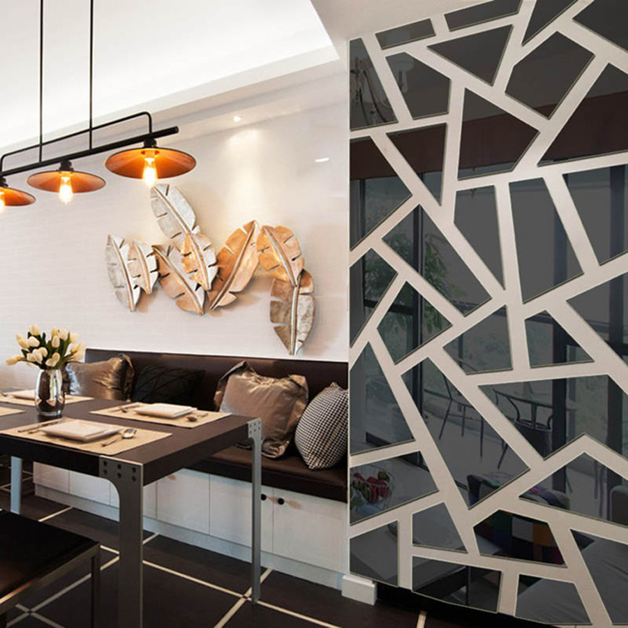 3D Mirror Wall Sticker DIY Art Wall Decor Creative ... on Creative Living Room Wall Decor Ideas  id=72213