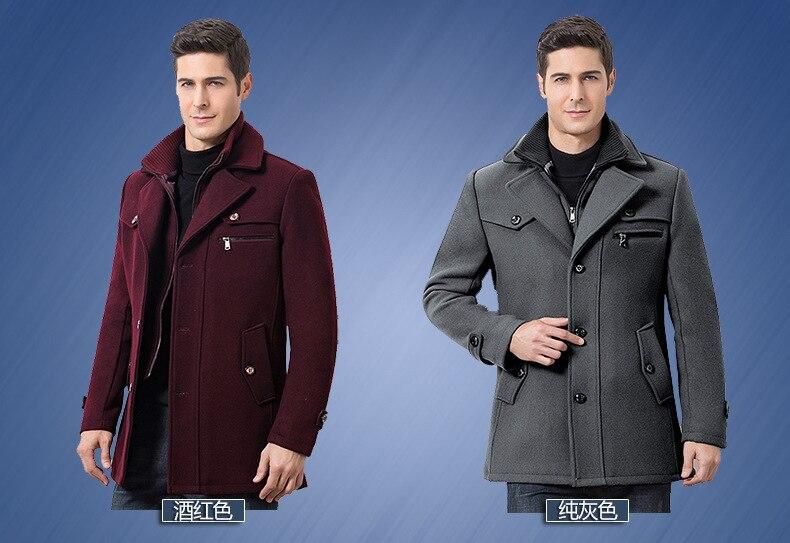 Winter Men's Casual Wool Trench Coat Fashion Business Medium Solid Thicken Slim Windbreaker Overcoat Jacket Male Plus Size 5XL 15