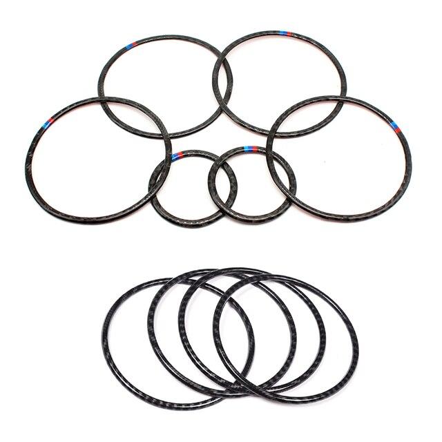 Para BMW X5 X6 F15 F16 2014 2015 2016 2017 2018 Puerta de fibra de carbono Real Audio altavoz anillo pegatina altavoz cubierta