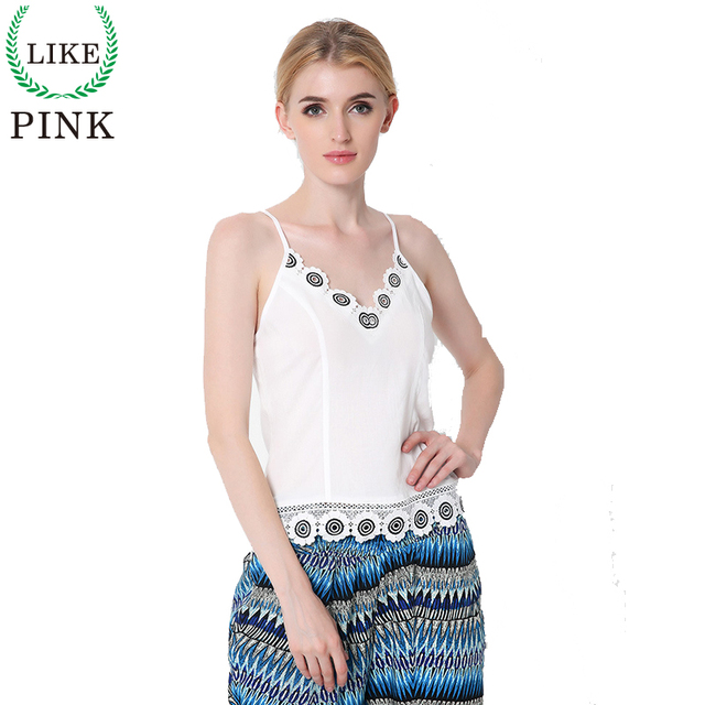 LIKEPINK 2017 Summer New Women Camis Sexy Chiffon Tanks Crop Tops Patchwork Embroidered Lace Casual Tee Tops For Women Blusas