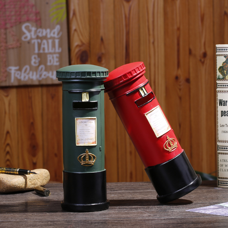 Europe Vintage Resin Mail Post Ornament Piggy Bank Figurines Mail Post Miniature Desk Home Decor Money Box Crafts Birthday Gifts