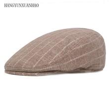 Classic Englad Style Striped Berets Caps For Men Women Casual Unisex Sports Cotton Hats Summer Casquette Flat Cap