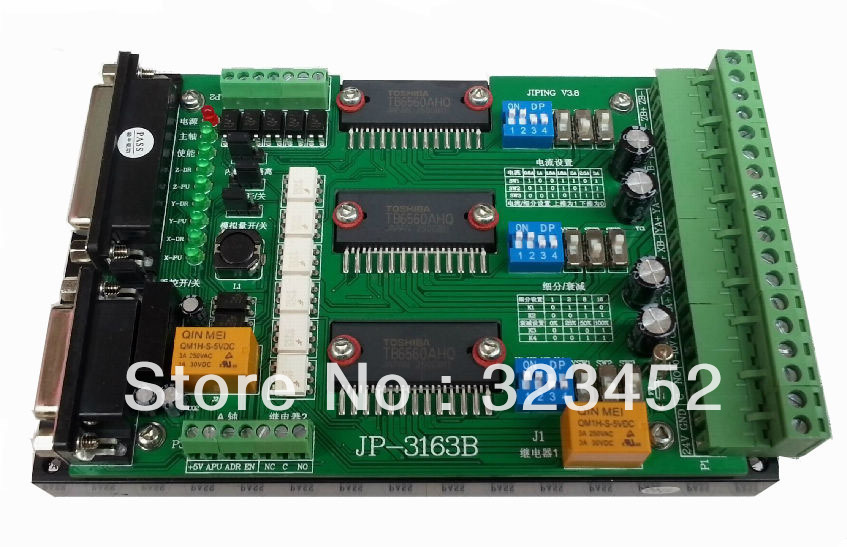 Free shipping CNC 3 Axis TB6560 Stepper Motor Driver Controller Board with 0-10V spindle regulation free shipping high quality 4 axis tb6560 cnc stepper motor driver controller board 12 36v 1 5 3a mach3 cnc 12