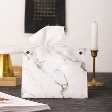 Marble Pattern Tissue Box Pu Leather Home Car Napkin Paper Container Paper Towel Napkin Case Pouch Home Decor Car Tissue Holder biety am 13 multifunctional alligator pu leather car sunvisor sunshade tissue box case cd holder
