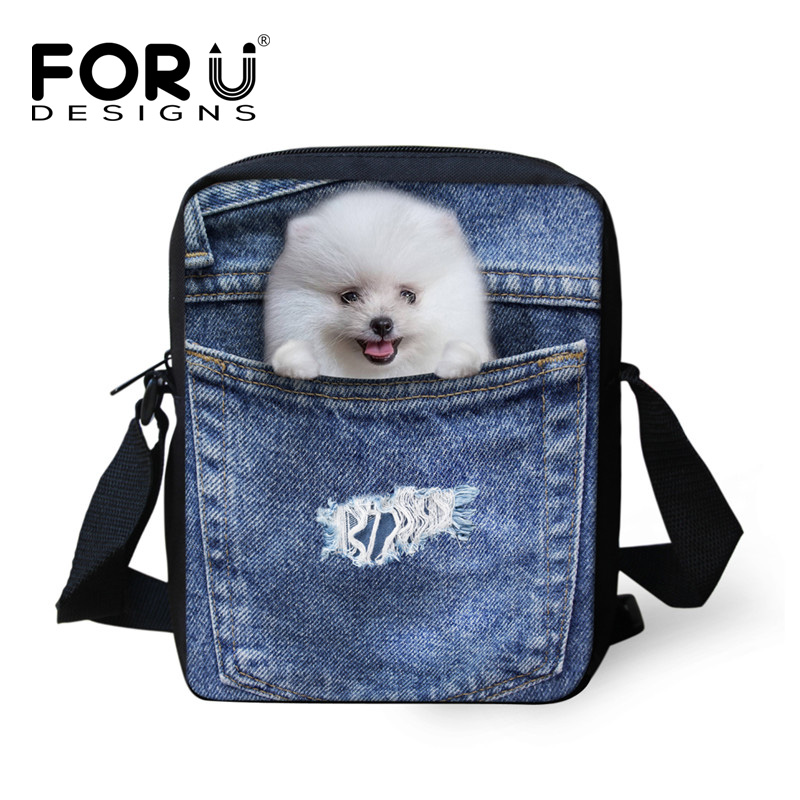 FORUDESIGNS Denim Cat Dog Kindergarten School Bags,Mini Kids Animal Schoolbags Children,Kawaii Boys Girls Book Shoulder Bags