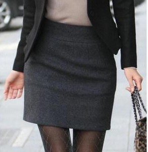 Top Quality Warm Winter Skirts Womens Autumn Fall Plus Size Zipper Black Gray Career Office Mini Short Pencil Wool Skirt image