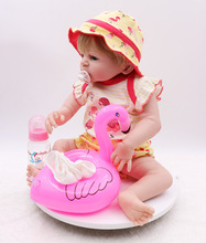 55CM Full Silicone Body Reborn Baby Girl Doll Vinyl Flamingo swimsuit Babies Bebe Bathe Accompanying Toy Birthday Gift Brinquedo