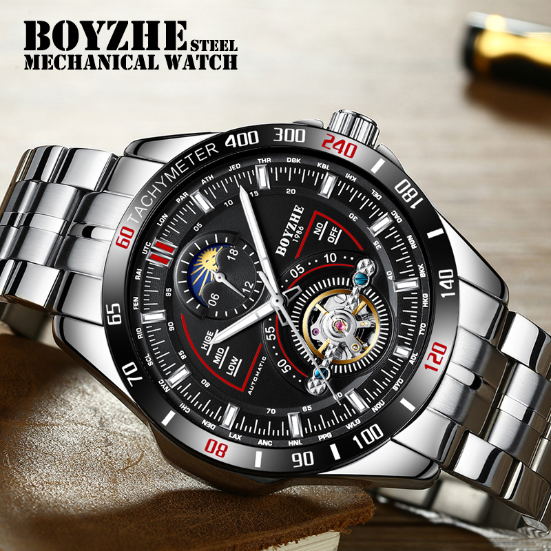 Sports-Watch Moon-Phase Mechanical Stainless-Steel Luminous-Tourbillon Automatic Relogio