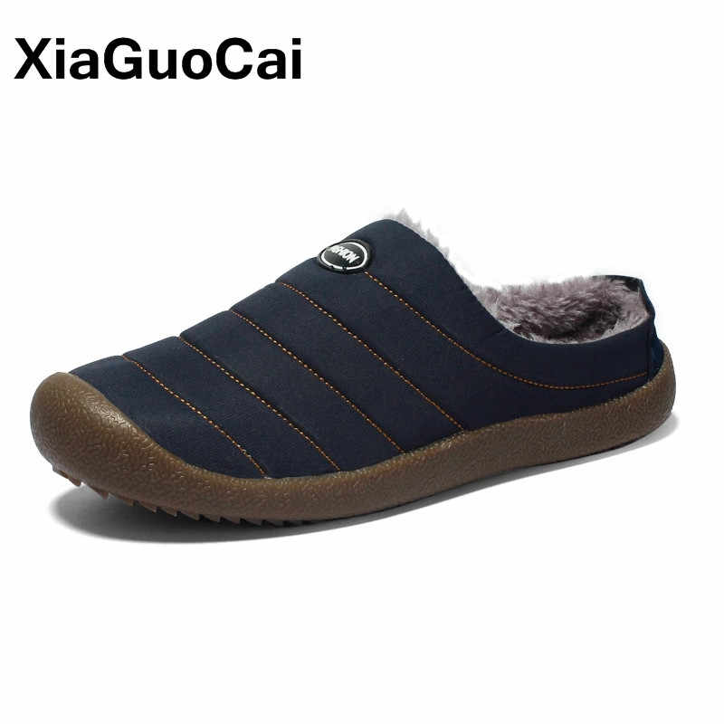 Winter Men Home Slippers Fashion Warm Plush Slippers 2019 Unisex Waterproof Outdoor Soft Antiskid Cotton Couple Shoes Plus Size