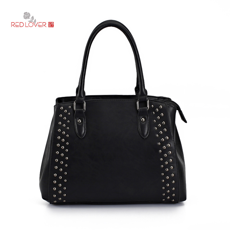 ФОТО 2016 New Arrival Women's handbag PU leather Lady shoulder bag Red Lover High quaity Rivet bags Vintage Tote