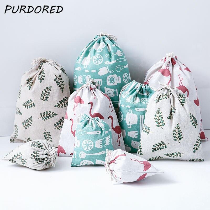 purdored-1-pc-portable-flamingo-drawstring-bag-women-dustproof-travel-storage-bag-cotton-leaf-women-makeup-organizer-bags