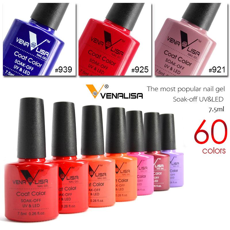 New Free Shipping Nail Art Design Manicure Venalisa 60Color 7.5Ml Soak Off Enamel Gel Polish UV Gel