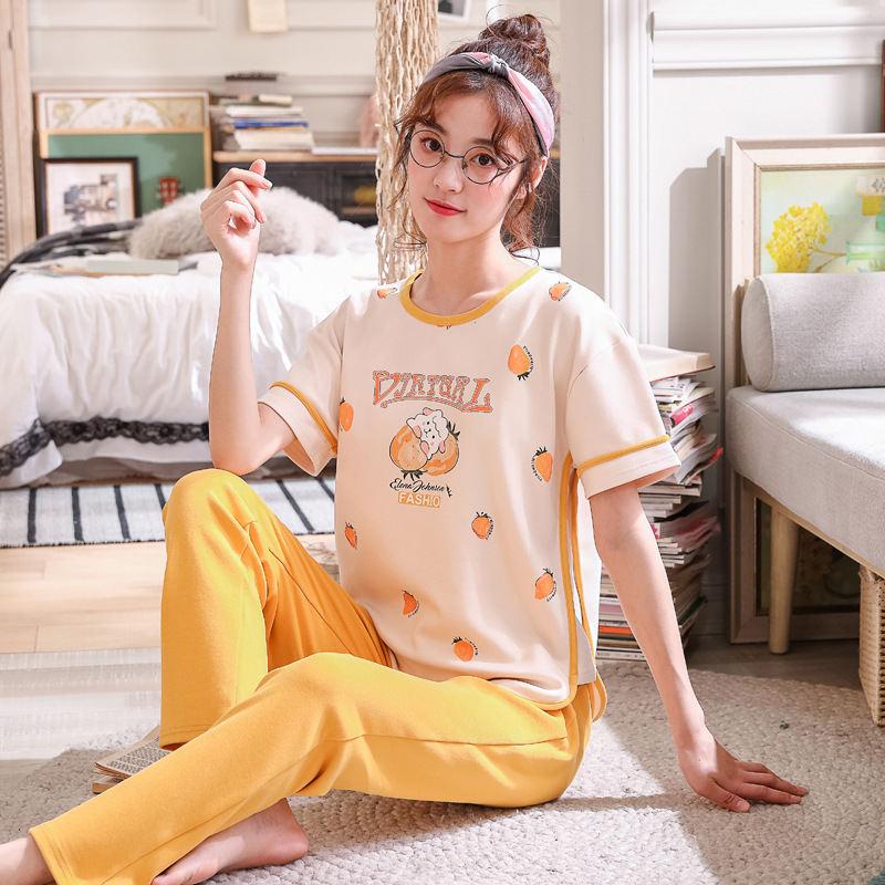 2019 New Women   Pajamas     Sets   Spring Short Sleeve Cartoon Print Cute Sleepwear Girl Pijamas Mujer Leisure Nightgown Adult clothes