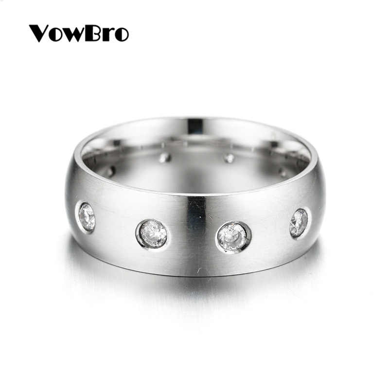 VowBro 316L แหวนสแตนเลสผู้หญิงคลาสสิคสาย Zirconia หมั้นแหวนเครื่องประดับ