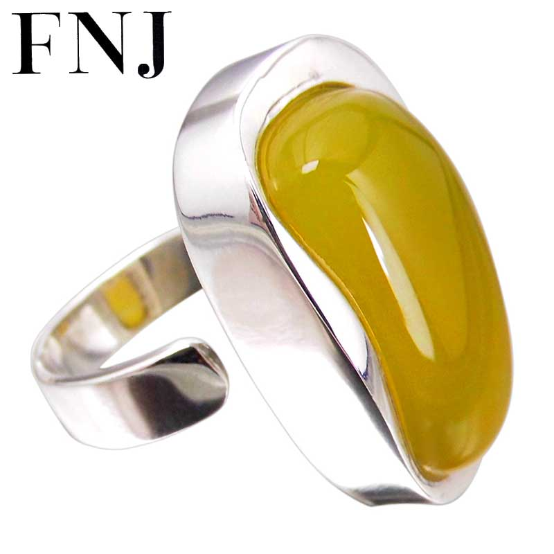 Natural Yellow Stone Ring 925 Sterling Silver Bague Femme Wedding Punk Statement Pure S925 Thai Silver