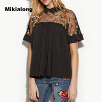 Mikialong Mesh Patchwork Embroidery Blouse 5XL Plus Size Women Tops 2017 New Fashion Peter Pan Collar
