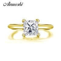 AINUOSHI 10 К твердого желтого золота Обручальное кольцо классический 1,25 ct Princess РЕЗАТЬ Bague Simualted Ювелирные изделия с алмазами 10 К Для женщин сваде