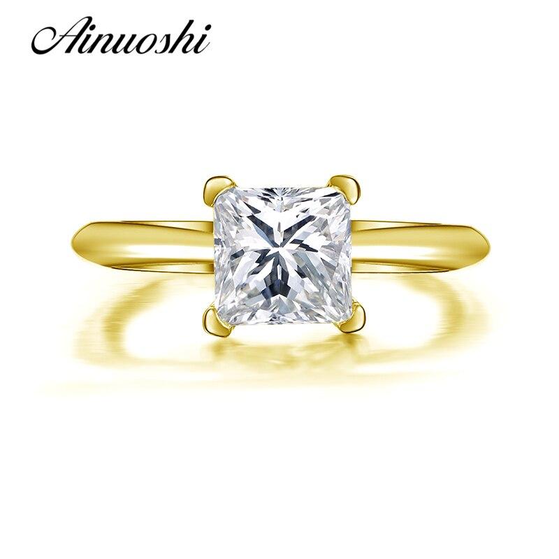 AINUOSHI 10 k Solide Jaune Or Anneau De Mariage Classique 1.25 ct Princesse Cut Bague Simualted Diamant Bijoux 10 k Femmes anneaux de mariage