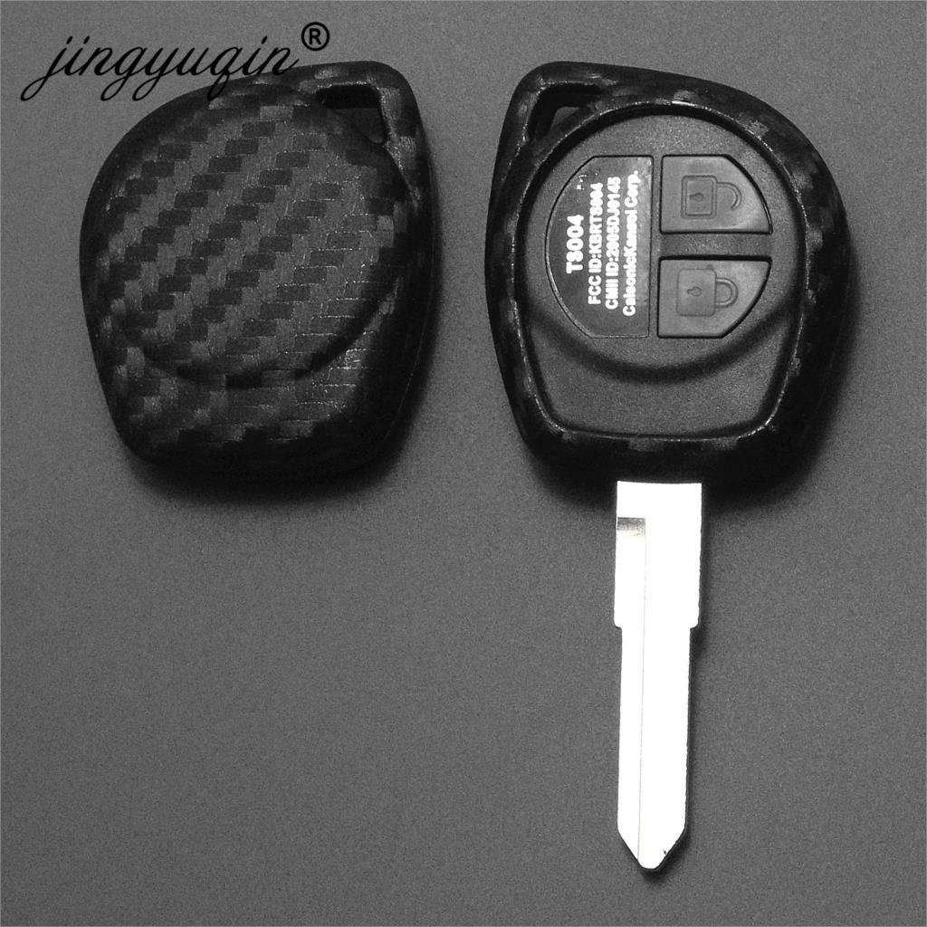 Jingyuqin Carbon Silicone 2 Buttons Remote Key Case For Suzuki SX4 Swift Vitara Fiber Car Styling Fob Protect Cover