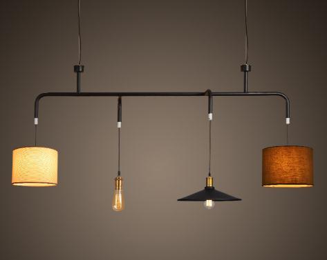 Nord loft di ferro nero biliardo industria combinazione lampadario