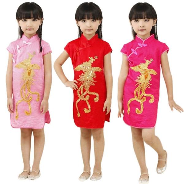 Hot Classic Chinese Style Children Kids Girls Phoenix Cheongsam