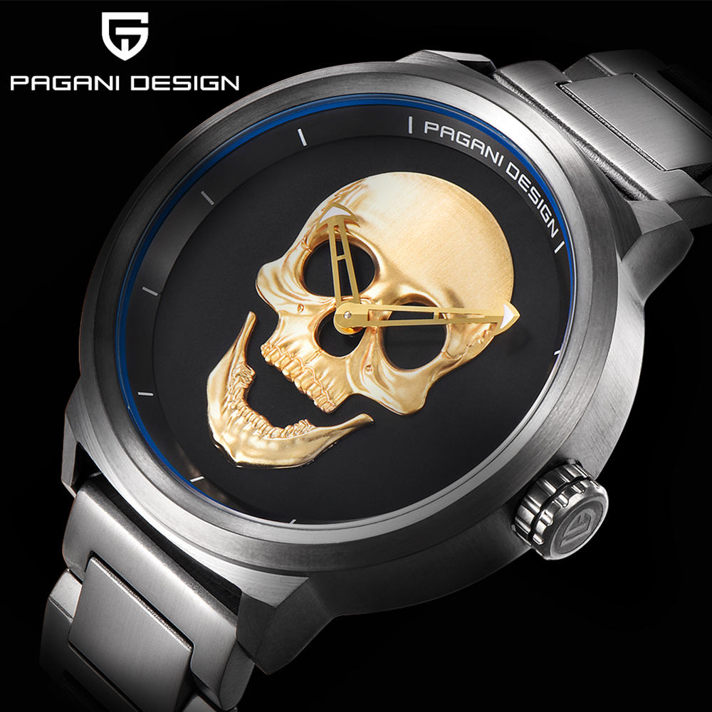 PAGANI design Luxury Brand Full Stainless Skull Bone Biker Punk stylish sports quartz watch Male Retro Wristwatch Clock men pagani design mens watch fashion luxury brand clock male casual sport wristwatch men pirate skull style quartz watch reloj hombe