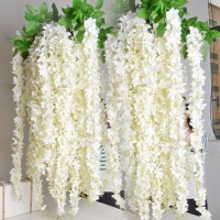 120pcs Lot 165cm White Artificial Silk Hydrangea Flower Wisteria Vine Garland Hanging Ornament For Garden Home