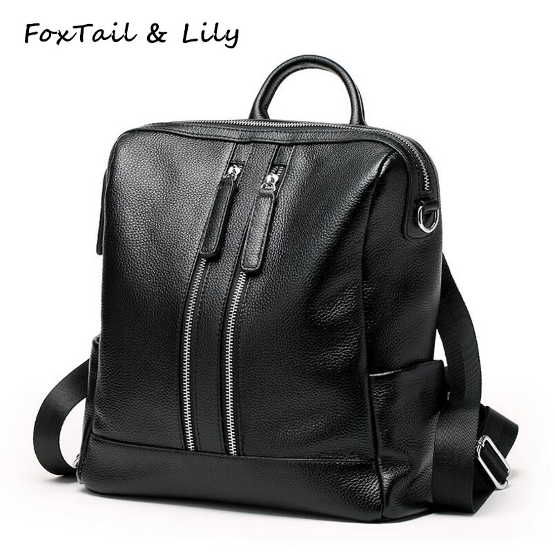 FoxTail & Lily Genuine Leather Backpack Women Shoulder Bag Korean Style School Backpacks Fashion Multifunctional Travel Bags swdvogan new travel backpack korean women rucksack pocket genuine leather men shoulder bags student school bag soft backpacks