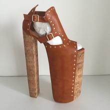DIY Thick Heels Women Sandals Shoes Size 14 Chunky Heels 35cm Platform 25cm Shoes Ladies Peep Toe Cover Heels Real Image