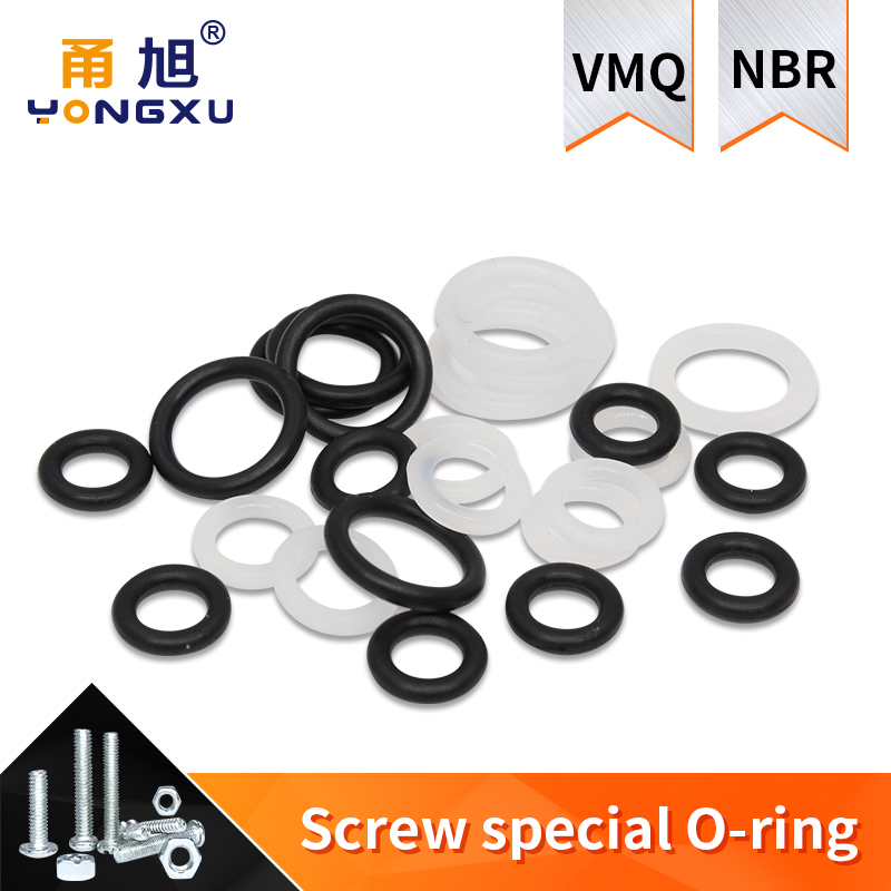 20pcs M3 M4 M5 M6 M7 M8 M9 M10 White Silicon Black NBR O-ring Seals Screw Washer Rubber Washer Gasket Ring Assortment Gaskets
