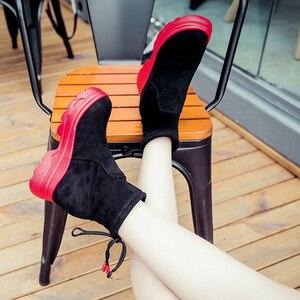Image 5 - SWYIVY siyah ayakkabı kadın günlük ayakkabılar geri dantel 2019 sonbahar kadın ayak bileği yüksek Top Sneakers üzerinde platformu tıknaz Sneaker kadın
