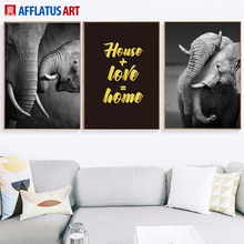 Black White Elephant Golden Love Quotes Wall Art Canvas Painting Nordic Posters And Prints Pictures For Living Room Decor