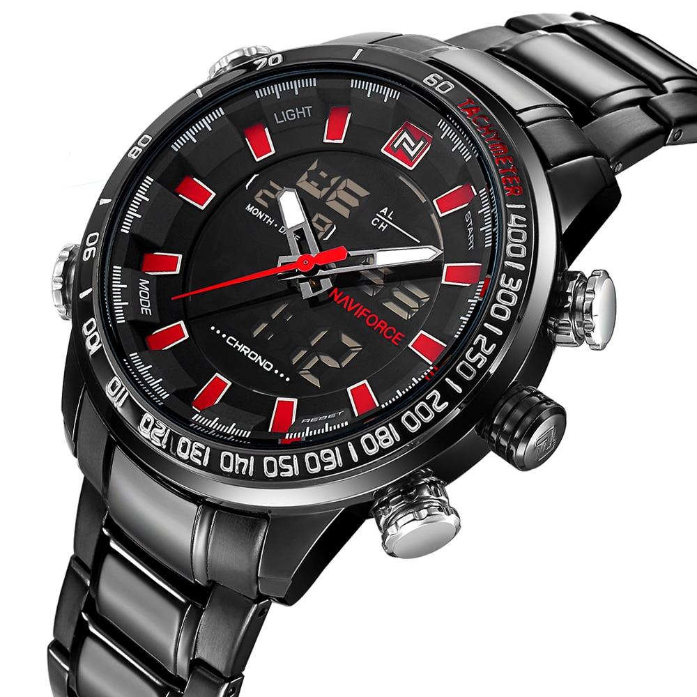 NAVIFORCE Mens Quartz Analog Watch Luxury Fashion LED Sport Wristwatch Waterproof Stainless Male Watches Clock Relogio Masculino