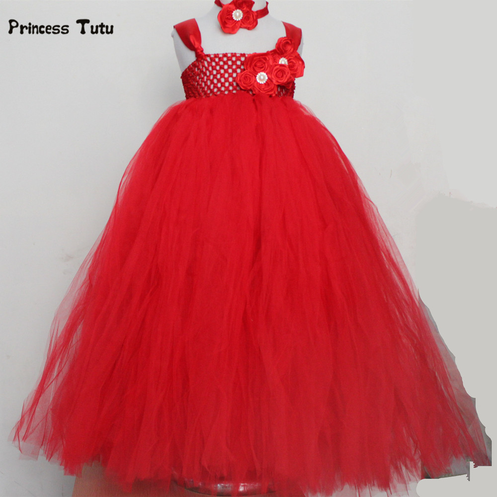 купить Red Tulle Girls Dress Flower Girl Dresses Wedding Gowns Kids Princess Party Pageant Tutu Dress Children Girls Christmas Costume дешево