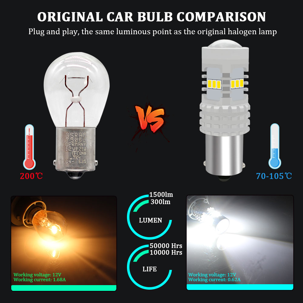 KAMMURI White Canbus No Error 1156 P21W LED Bulb for Skoda Superb Octavia 2 FL 2010 2011 2012 2013 Daytime Running Lights DRL in Signal Lamp from Automobiles Motorcycles