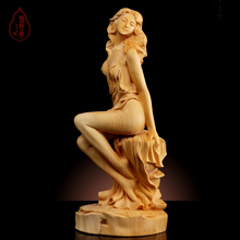 Hand engraving Artwork Water boxwood carving Wenwan with hand pieces Home Furnishing goddess decorations car decoration