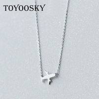 Wholesale Real 925 Sterling Silver Aircraft Airplane Plane Pendant Necklace Handmade Jewelry Gift 2017 NEW