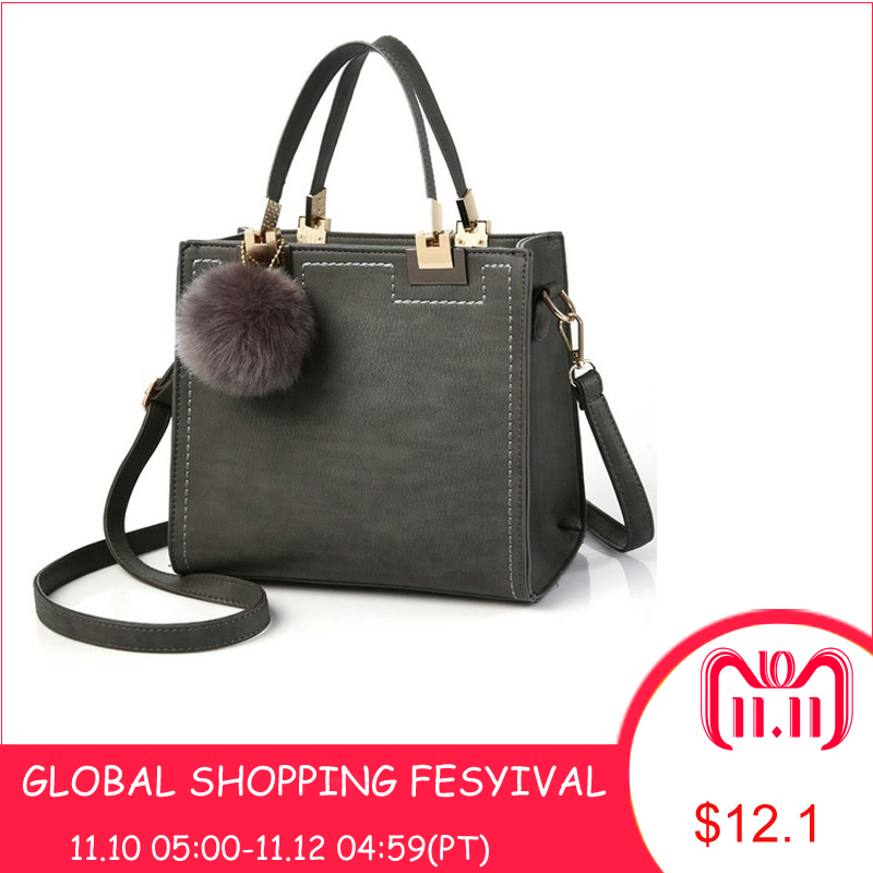 Hot Handbag Women Casual Tote Bag Female Large Shoulder Messenger Bags High Quality PU Leather Handbag With Fur Ball Sac a main цена