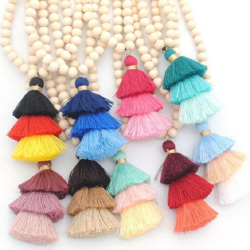 10mm Round Natural Wood Beads Tassel Pendant Long Chain 3 Layered Gradient Tiered Threaded Tassel Necklaces for Women Jewelry trendy layered teardrop turquoise geometric chain tassel necklace