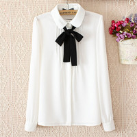 Women Bow Tie White Blouses Chiffon Peter Pan Collar Casual Shirt Ladies Tops School Blouse Women