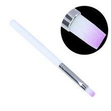 Pro Manicure Phototherapy Pen Color Light Purple Nylon  + Wood Nail Art Drowing Flat Head 1pc