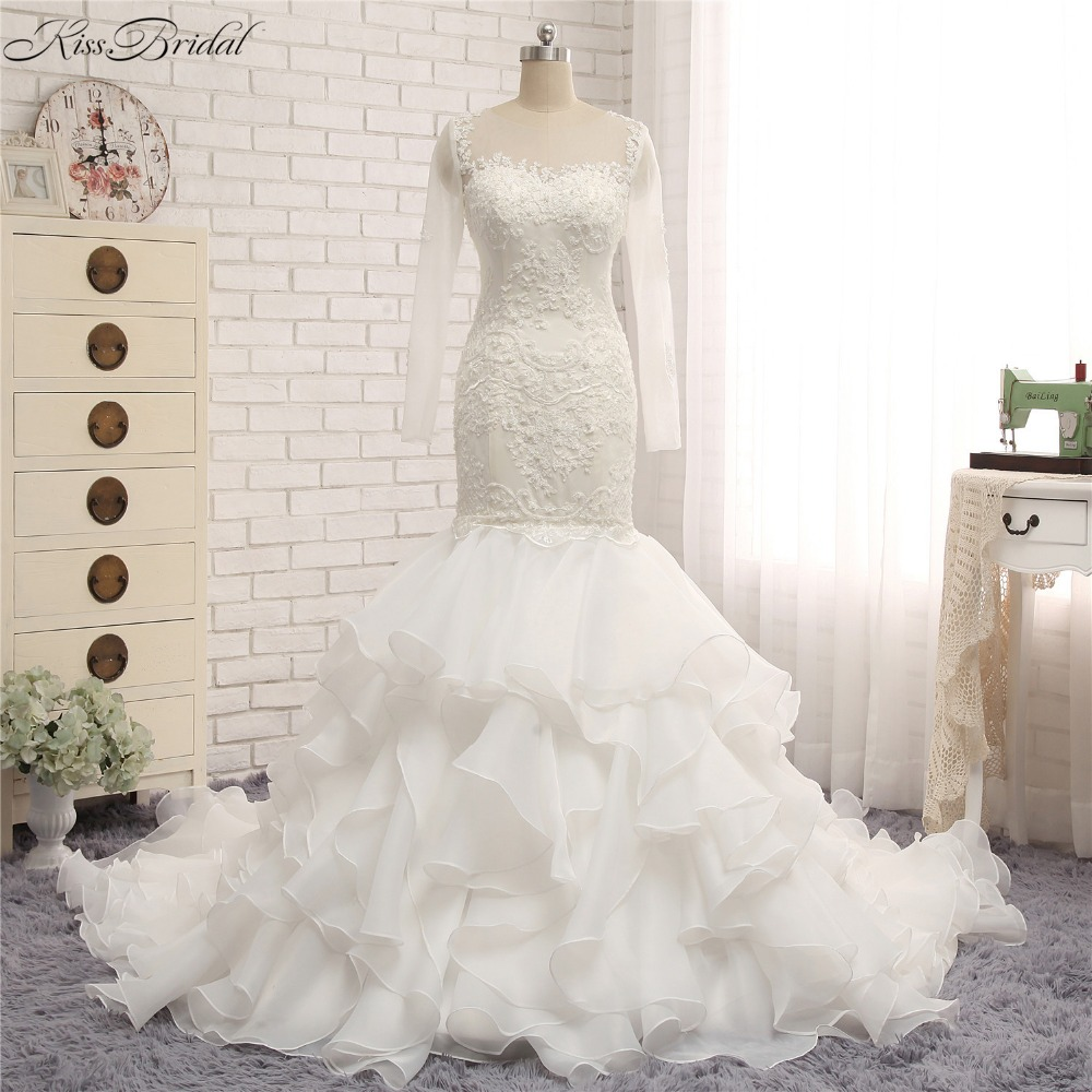 Mermaid Style Lace Wedding Gowns: Fashion New Ruffled Organza Trains Wedding Dresses Mermaid
