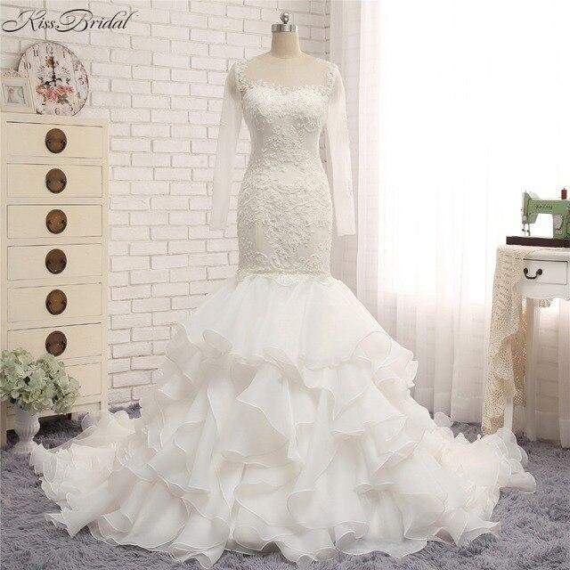 353e1e491f Fashion New Ruffled Organza Trains Wedding Dresses Mermaid Style Long Sleeve  Lace Bridal Gowns vestido de noiva praia