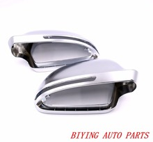 цена 1 mirror cover pair For Audi A3 S3 8X 08 A4 S4 B8 S5 A5 S6 A6 Q3 matt chrome Silver mirror case rearview mirror cover shell