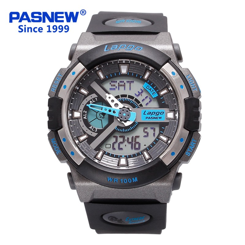 Pasnew Double Display Multi-functional Electronic Fashion Luminous Mens Sports Watch Students Military Diving Watch PLG-1015ADPasnew Double Display Multi-functional Electronic Fashion Luminous Mens Sports Watch Students Military Diving Watch PLG-1015AD
