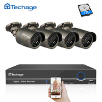 Techage 4CH 1080P 48V POE NVR Kit CCTV Camera System Indoor Outdoor 2MP IP Camera Home Security P2P Video Surveillance System